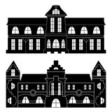 Collection of fairytale palaces silhouettes Royalty Free Stock Photos