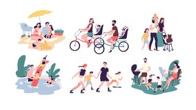 Collection of family outdoor recreational activities. Mother, father and children sunbathing, riding bikes, walking. Swimming, roller skating, preparing vector illustration