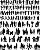 Collection Of Family Silhouettes royalty free stock photos