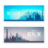Collection of famous city capes. Royalty Free Stock Photos