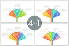 Collection of fan charts. Divided into colorful sectors with thin line pictograms and letters inside, text boxes. Infographic design templates. Flat vector stock illustration
