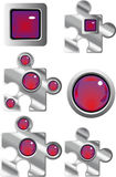Collection of fancy puzzle web buttons. Collection of fancy puzzle glass look web buttons in red and purple Royalty Free Stock Images