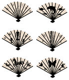 Collection of fans with patterns Stock Photo