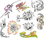 Collection of fantasy tattoo sketches Royalty Free Stock Photography