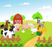 Collection of farm animals with background Royalty Free Stock Photos