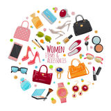 Collection of Fashion Accessories. Women Things. Patch of fashion accessories. Woman items and accessories. Collection of bags, shoes, high heels, sun glasses royalty free illustration