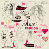 Collection of fashion elements, sketch, girls and signatures Royalty Free Stock Photography