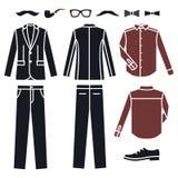 Collection of fashion men's clothes. Stock Photos