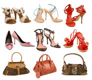 Collection fashion shoes and bag Stock Images