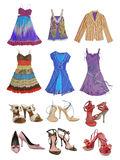 Collection fashion shoes and dress Stock Photos