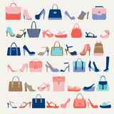 Collection  of  fashion Women bags and High Heels shoes. Collection  of  fashion Women bags handbags and High Heels shoes in a fashion trend colors Stock Photo