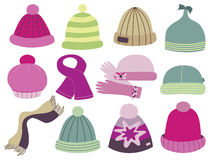 Collection of fashionable caps royalty free illustration