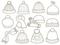 Collection of fashionable caps Stock Photography