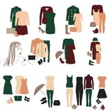 Collection of fashionable clothes for girls Royalty Free Stock Photos