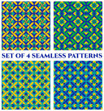 Collection of 4 fashionable decorative seamless patterns with geometric ornament of blue, green and yellow shades Stock Image