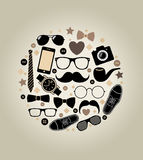 Collection of fashionable mens accessories.  illus Stock Image