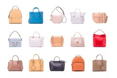 A set of summer women bags. Collection of fashionable women bags royalty free stock photography