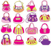 Collection of fashionable womens bags Royalty Free Stock Images