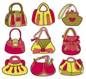 Collection of fashionable womens bags Royalty Free Stock Photography