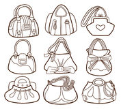 Collection of fashionable womens handbags Stock Photography