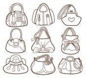 Collection of fashionable womens handbags Stock Photography