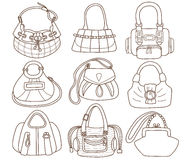 Collection of fashionable womens handbags Royalty Free Stock Images