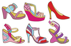 Collection of fashionable womens shoes Stock Image