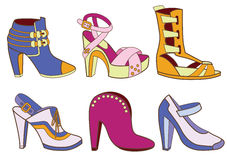 Collection of fashionable womens shoes Royalty Free Stock Image