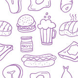 Collection of fast food element doodles Stock Photography