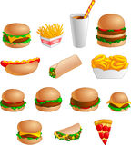 Collection of Fast Food Icons. Clip art illustrations of fast food - hamburgers, hot dogs, onion rings, french fries, taco, burrito, pizza and soft drink Royalty Free Stock Photo
