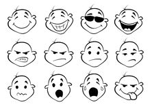 Collection of  fatial expressions Royalty Free Stock Photography