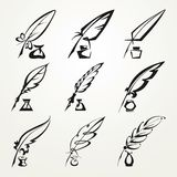 Collection feather pen and ink Royalty Free Stock Images