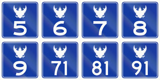 Collection of federal highway shields used in Thailand Stock Images