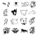 Collection of feline symbols. Vector collection of decorative feline symbols isolated on white background Royalty Free Stock Photos