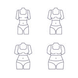 Collection of female body types. Set of thick and thin figures. Thin line icons. Vector illustration. Flat style design. Collection of female body types. Set of royalty free illustration