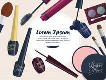 Collection of female cosmetics for the eyes on a table with space for your advertising. Vector Stock Image