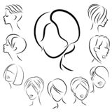 Collection of female hairstyles for short, long and medium hair. Hairstyles are fashionable, beautiful and stylish. For brunettes stock illustration