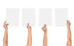 A collection of female hands holding paper Stock Photography