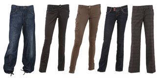 Collection of female trousers Stock Image