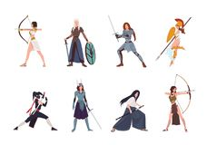 Collection of female warriors from Scandinavian, Greek, Egyptian, Asian mythology and history. Set of women wearing. Armor and holding weapons isolated on white royalty free illustration
