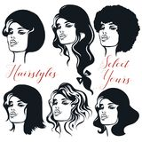 Collection of female woman hairstyles. Girls faces with differen. T hair stock illustration