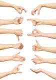 Collection femelle de gestes et de signes de main d'isolement Images stock