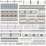 Collection of fence patterns and decorative design elements with seamless borders Stock Photography
