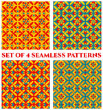 Collection of 4 festive decorative seamless patterns with geometric ornament of blue, red, orange and yellow shades. Collection of 4 abstract festive decorative Royalty Free Stock Photos