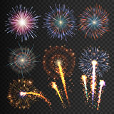 Collection festive fireworks of various colors arranged on a black background. Isolated outbreaks transparent to paste. Set of sparkling abstract shapes Royalty Free Stock Photography