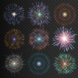 Collection festive fireworks of various colors arranged on a black background. Isolated outbreaks transparent to paste. Set of sparkling abstract shapes Royalty Free Stock Photos