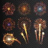 Collection festive fireworks of various colors arranged on a black background.  outbreaks transparent to paste. Set of sparkling abstract shapes. Vector Stock Photography