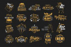 Collection of festive Happy New 2018 Year hand drawn lettering decorated with holiday elements - fireworks, champagne. Snow globe, light garland, baubles Stock Images