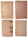 Collection of few old paper pieces. Isolated on white. High resolution Royalty Free Stock Images