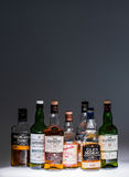 Collection of a few  Popular Single Malt Scotch Bottles. Royalty Free Stock Photo